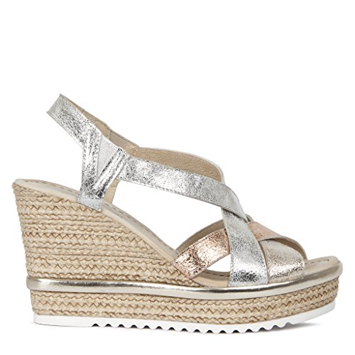 TJ Collection Women's Metallic Cracked-Leather Wedge Sandals Cracked Metallic Leather
