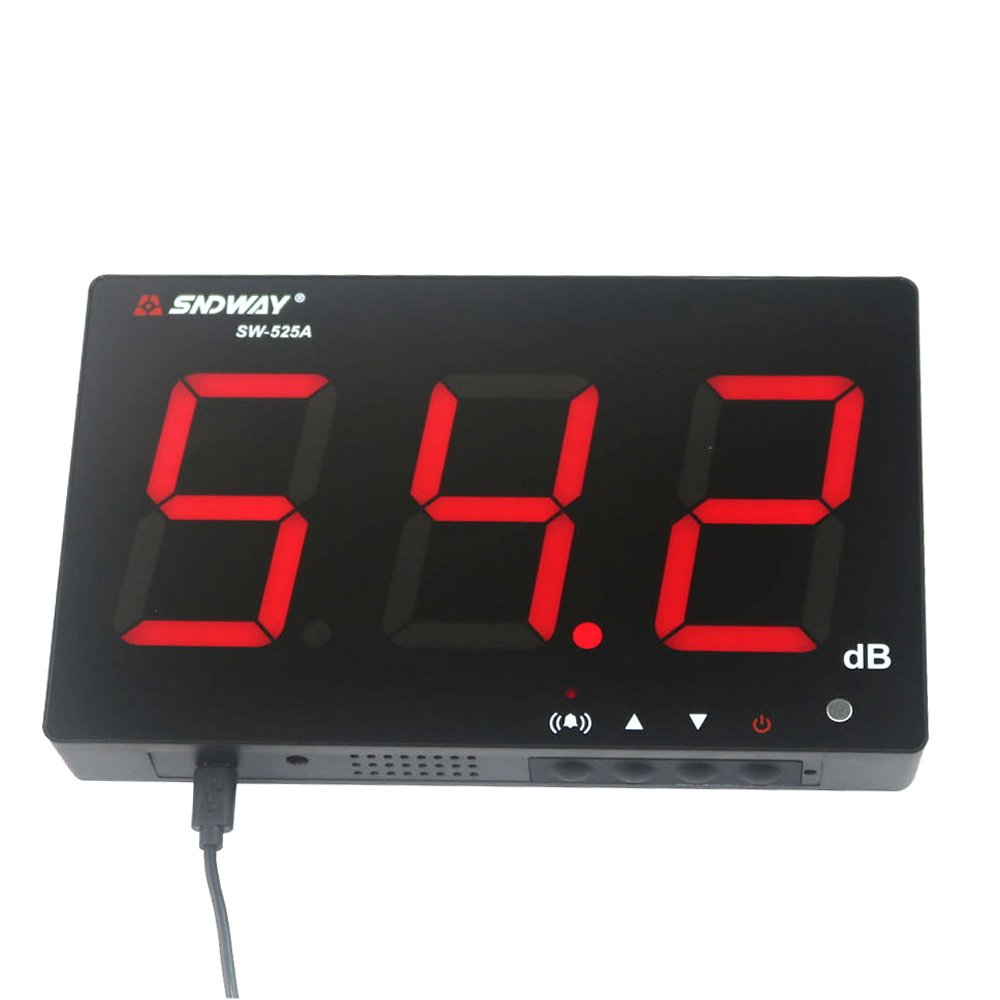 SNDWAY SW-525 Digital Sound Level Meter 40 to 130db 9.7 Large LCD Wall Hanging Type Decibel Meter with Alarm SW-525A
