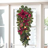 Beautiful 32'' Pinecone & Poinsettia Swag With 20 LED Lights