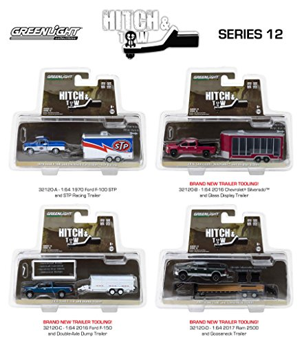 Hitch & Tow Series 12 Set of 4 1/64 Diecast Model Cars by Greenlight 32120 A B C D
