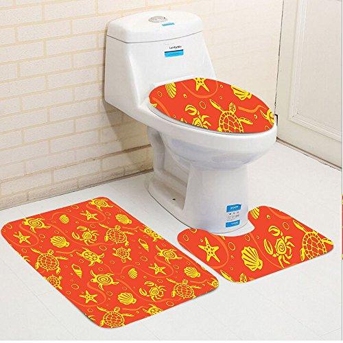 Keshia Dwete three-piece toilet seat pad customBurnt Orange Swimming Turtles And Crabs With Shells Bubbles And Starfish Tropical Ninja Burnt Orange Yellow