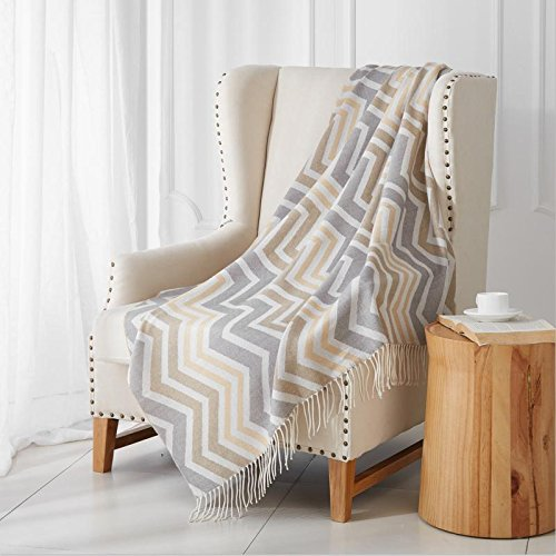 "Merrylife Decorative Knitted Throw Blanket (Large) Sofa, Couch, or Bedroom Décor | Breathable Warmth, Plush Acrylic Fabric | 50"" x 60"" chevron-brown (Large Throws Sofa)"