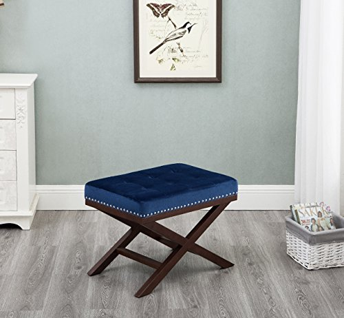 Harper&Bright Designs Upholstered Tufted X Bench Ottoman with Nailhead Detail and Solid Wood Legs (Indigo) by Harper&Bright Designs (Image #6)