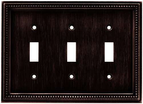- Brainerd 64408 Beaded Triple Toggle Switch Wall Plate / Switch Plate / Cover, Venetian Bronze