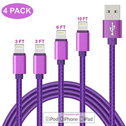 ZHONGXING Phone Charger Cable 4 Pack(3 FT 3 FT 6 FT 10 FT) Nylon Braided Cord USB Fast Charging Cables,Compatible Phone Xs Max XR X/Phone 7 7 Plus Phone 8 8 Plus 6 6s Plus SE/Pad- Purple