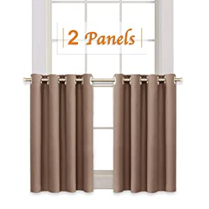 RYB HOME Short Curtains Blackout for Small Windows, Grommet Top Tiers Valance Set for Bath Window Shades for Office/Loft/Kitchen Cabinet/Coffee, 52 inch Wide x 36 inch Long, Mocha, One Pair