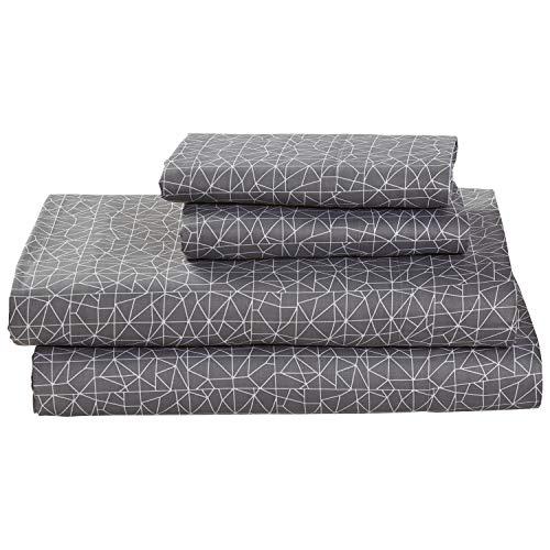 Rivet Spectrum 100% Sateen Cotton Bed Sheet Set, Easy Care, California King, Pewter