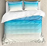Ambesonne Ocean Duvet Cover Set Queen Size, Paradise Beach in Tropical Caribbean Sea with Fantastic Sky View Calm Beach House Theme, Decorative 3 Piece Bedding Set with 2 Pillow Shams, Cream Navy