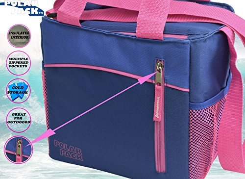 b72242bdb726 POLAR PACK 12 Can Double Handle Grab & Go Soft Insulated Cooler Bag Zipper  Pockets Insulated Picnic Bag Outdoor Indoor Travel Lunch Bag for Sports ...