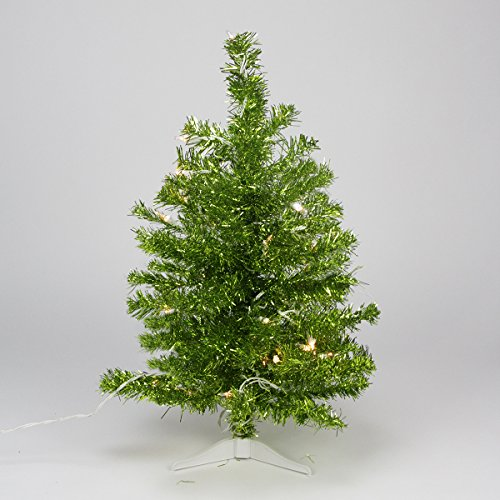 Northlight Pre-Lit Pardise Lime Green Tinsel Pine Artificial Christmas Tree with Clear Lights, 2'