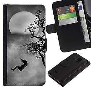 For Samsung Galaxy S5 Mini(Not S5), SM-G800 Case , Kid Swinging Tree Moon Spooky - la tarjeta de Crédito Slots PU Funda de cuero Monedero caso cubierta de piel
