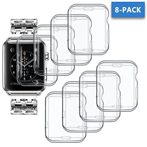 ANCOOL Compatible Apple Watch Cover All-Around Soft Clear TPU Protective Cover Replacement for Apple Watch Series 3/2 (42mm, 8PCS Pack) by ANCOOL