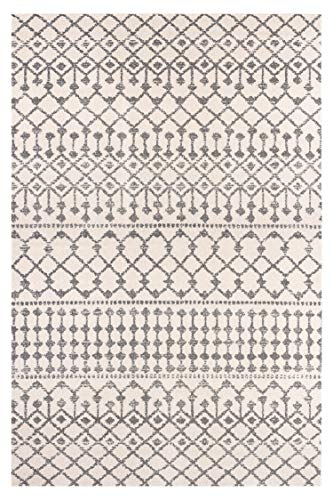 - POLY & BARK R-126-0609-CRM Rabat Geometric Lattice 6'x9' Area Rug, 6' x 9', Antique Ivory