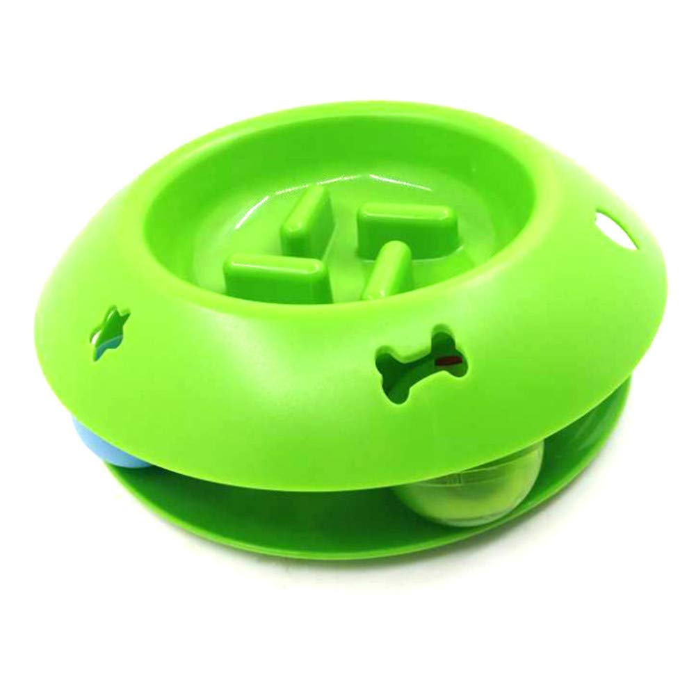 Green Pet Feeder Cat and Dog Slow Food Bowl Cat Food Bowl Ball Cat Food Bowl