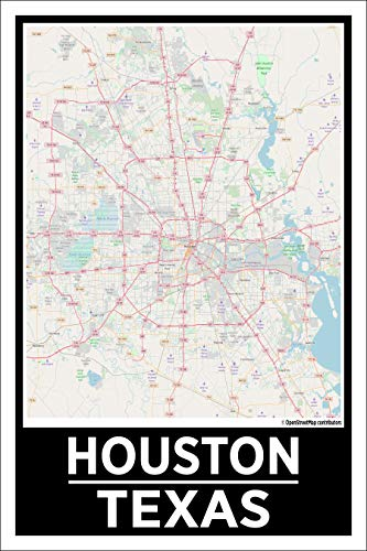 Spitzy's Houston Texas 12 by 18 Inch City Map Poster, Houstonian, H-Town Strong, Home Wall Art Printed Bedroom Decoration