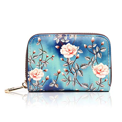 APHISON RFID Credit Card Holder Wallets for Women Leather Zipper Card Case for Ladies Girls/Gift Box 030