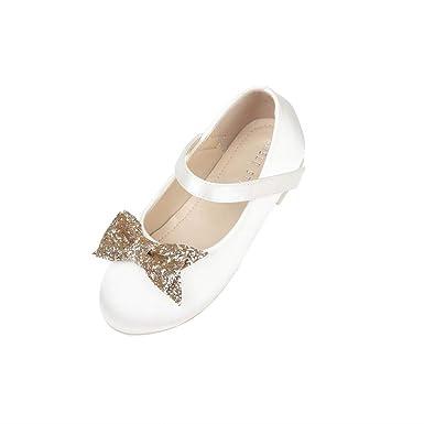 610bb15cd Little Kid Flower Girls Dress Shoes Maryjanes Princess Ballerina Flats  Size1 Ivory Non-slip Ballet