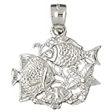 14k White Gold Tropical Fish, Coral,and Starfish Pendant