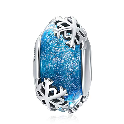 925 Sterling Silver Charm fit Pandora Charms Bracelet Murano Glass Bead Flower Charm Birthday Gifts Women Jewelry (Blue) - Pandora Murano Beads