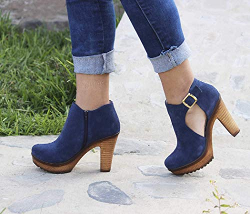 BRITANIA - Leather booties/Calpas suede leather ankle boots for women/Booties heels ()
