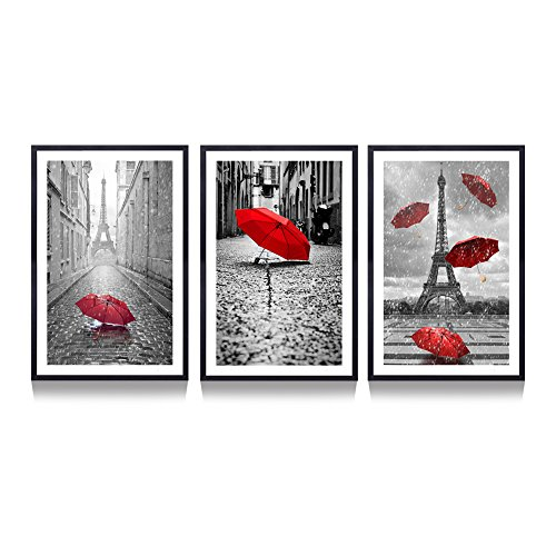Hello Artwork - Contemporary Wall Art Canvas Black and White Eiffel Tower with Red Unbrella on Paris Street Painting Romantic Picture Framed Artwork Prints Canvas Set of 3 Ready to Hang (Black Frame )