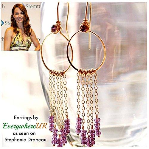 - Bohemian gemstone earrings, long chains gold filled hoop earrings. Birthstone gifts.