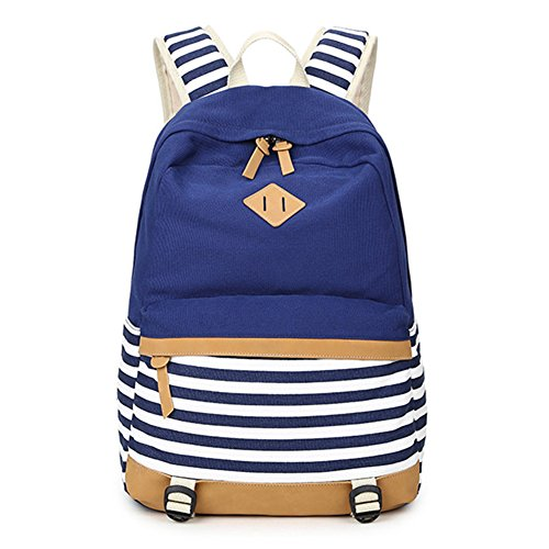 Abshoo Lightweight Canvas Stripe Backpacks for Girls Womens School Bookbags (Navy)