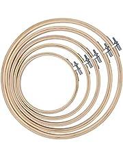 QH Shop borduurring, borduurframe, rond, bamboe, cirkelset voor doe-het-zelf kunst handwerk naaien, 5 stuks
