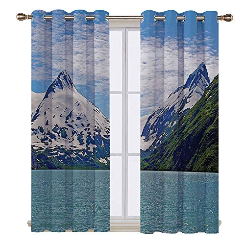 SATVSHOP Textured Blackout Curtains - 120W x 72L Inch-Lake House Mountain and Lake in Anchorage Alaska Springtime Sunny Day Scenic View White Green Teal.]()