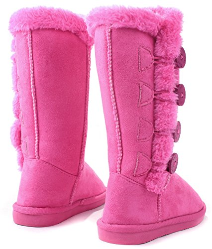 042ede09be266 AMY Kids Girls Wooden Button Faux Fur Lined Shearling Mid Calf Winter Boots