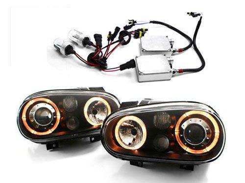 99-05 VW MK4 Golf/GTI E-Code Angel Eye Projector Headlights w/ HID Install - Black (1999 2000 2001 2002 2003 2004 2005)