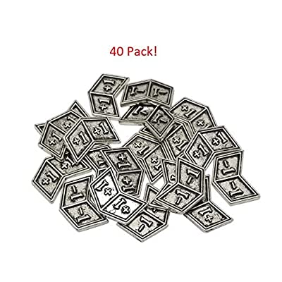 Set of 40 Metal Buff Counters, Token, Creature Stats or Loyalty, Double Sided +1/+1 and -1/-1 for CCG, MTG Magic: The Gathering, Silver Tone: Toys & Games