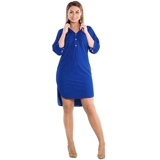 05add9aa21 Vestidos Mujer Casual Tallas Grandes Mosstars Vestido de Verano Vestido  Mini Mangas Tres Cuartos Vestido Corto
