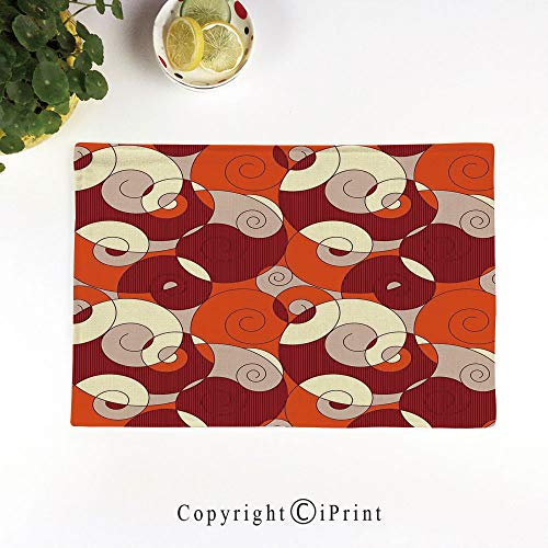 (LIFEDZYLJH Machine Washable Placemats - Handcrafted with Classic Hemstitch & Mitered Corners,Abstract Bold Spiral Motifs Circled Modern Pattern with Stripe Details Decorative,Orange Ruby Ivory)