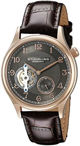 Stuhrling Original Men s 983.03 Legacy Mechanical Hand Wind Skeleton Brown Leather Strap Watch