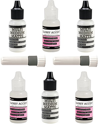 (Ranger Multipack Minis - Glossy Accents, Multi Medium - Matte & Fine Tip Applicators)