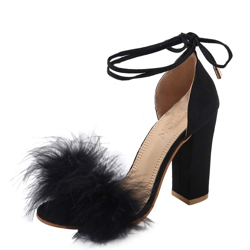 14acaa91c59be Amazon.com : LEERYAAY Womens Fish Slip-On High Heel Cross Straps ...