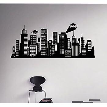 Gotham City Wall Decal Batman Night City Vinyl Sticker Superhero - Wall decals city