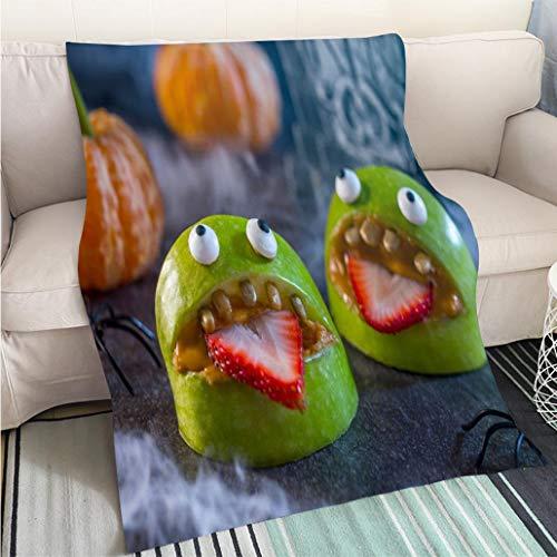 Art Design Photos Cool Quilt Healthy Halloween Apple Monsters Fruit Kids Treat Hypoallergenic Blanket for Bed Couch -