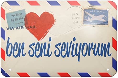 Amazon com: NEONBLOND Metal Sign I Love You Turkish Love Letter from