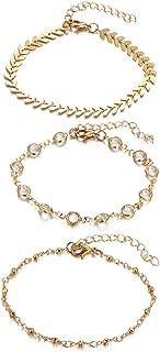 Donna placcato oro 14ct cristallo cavigliera braccialetto spiaggia a piedi nudi sandali piede catena gioielli piedi accessori 3PC set