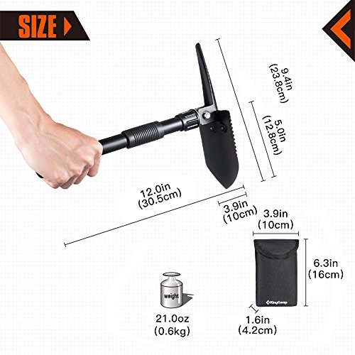 KingCamp Military Portable Folding Shovel and Pickax, Compact Multifunctional Entrenching Tool with Nylon Carry Case for Hiking, Hunting, Fishing, Gardening, Camping, Backpacking, Emergencies by KingCamp (Image #3)