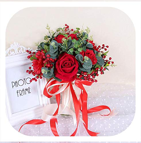 - Memoirs- Gorgeous Red Rose Wedding Flowers Bridal Bouquets Green Leaves Flores Artificiales Bouquet for Bridesmaids Silk Ribbon