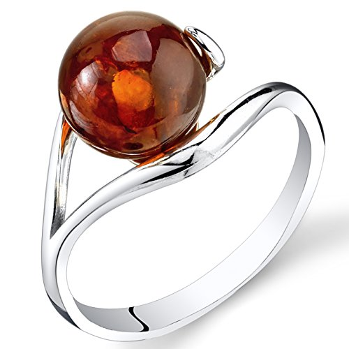 Baltic Amber Spherical Spiral Ring Sterling Silver Cognac Color Size 8