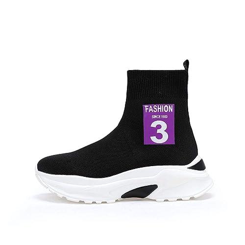 TQGOLD Zapatillas de Cuña para Mujer Zapatillas de Deporte Zapatos Wedge Calcetín Sneakers Altas Tacón Cuña