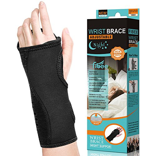 Carpal Tunnel Wrist Brace for Night by Fibee for Right or Left Hand, Cushioned to Help With Tendonitis, Relieve and Treat Wrist Pain ,Adjustable Wrist Splint Support for Women and Men (Black)