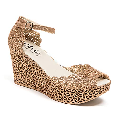 Lady Couture Glitter Jelly Wedge Sandal, Fun Champagne - Shoes Couture