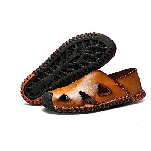 in sportivi estivi da Sandali in da da uomo Sandali spiaggia Brown spiaggia da chiusi sudore scarpe 42 Size Sandali assorbenti pelle EU Brown pelle all'aperto Sandali da uomo Color pescatore TdqYzw