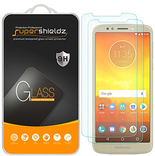 (2 Pack) Supershieldz for Motorola (Moto E5) Tempered Glass Screen Protector, 0.33mm, Anti Scratch, Bubble Free