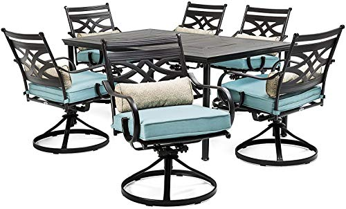 - Patio Dining Set. 7 Piece Modern Outdoor Porch, Deck, Lawn, Pool, Garden, Balcony Diner, Conversation, Seating, Bistro, Chat Steel Furniture Kit. Outside Square Table, Chairs, Cushions (Light Blue)